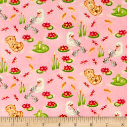 Hugs & Loves Lake Swimmers Pink Fabric