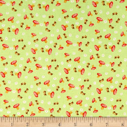Hugs & Loves Mushrooms Green Fabric
