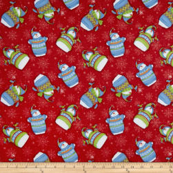 Sweater Weather Tossed Snowmen Flannel Red Fabric