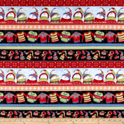 Sweater Weather Snowmen Novelty Stripe Flannel Multi Fabric