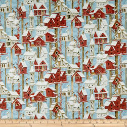 Sheltering Snowman Winter Birdhouses Blue Fabric