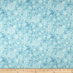 Sheltering Snowman Lacey Snowflakes Light Blue Fabric