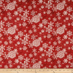 Sheltering Snowman Lacey Snowflakes Red Fabric