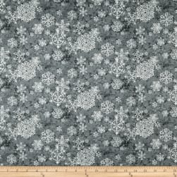 Sheltering Snowman Lacey Snowflakes Gray Fabric