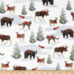 Rustic Charm Flannel Forest Animals White/Multi Fabric