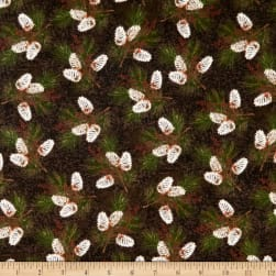 Rustic Charm Flannel Pinecones Brown Fabric