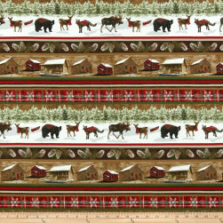 Rustic Charm Flannel Cabin & Forest Animal Stripe