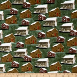 Rustic Charm Flannel Allover Cabins Green Fabric