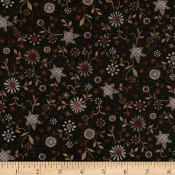 Itty Bitty Allover Flower Black Fabric