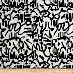 Telio Bloom Cotton Spandex Sateen Graffiti Ecru/Black Fabric