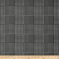 Telio Bengaline Stretch Jacquard Glen Check Black/White Fabric