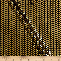 Telio Mermaid Knit Foil Chevron Black/Metallic Gold Fabric