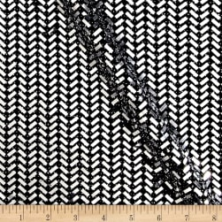 Telio Mermaid Knit Foil Chevron Black/Metallic Silver Fabric