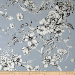 Telio Digital Linen Print Floral Blue Fabric