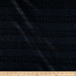 Telio Santiago Metallic Foil Aztec Stripe Black/Navy Fabric