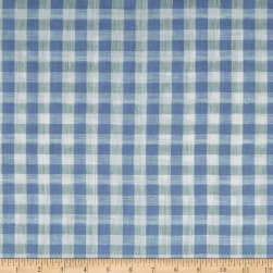 Telio Pienza Gingham Linen Blue/White Fabric