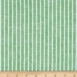 Telio Romsey Linen Stripe Green Fabric
