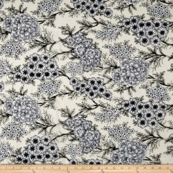 Telio Full Bloom Emboirdery Mesh Lace Black/White Fabric