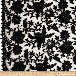 Telio Fantinet Corded Embroidery Mesh Floral Black Fabric