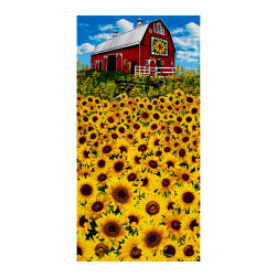 Timeless Treasures Sunflower Farm 24'' Sunflower Barn Panel Sunflower Fabric