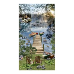 Timeless Treasures Gone Fishing 24'' Panel Lake Fabric