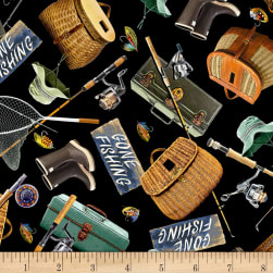 Timeless Treasures Gone Fishing Fishing Gear Black Fabric