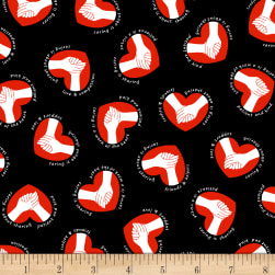 Calling All Nurses Caring Hands Black Fabric