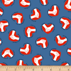 Calling All Nurses Caring Hands Blue Fabric