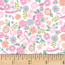I Believe In Pink Flowers & Ribbons White Fabric