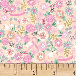 I Believe In Pink Flowers & Ribbons Peach Fabric