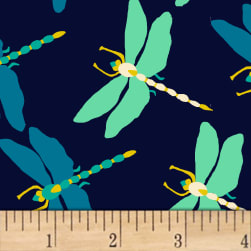 Butterfly Dance Dragonfly Dance Navy Fabric