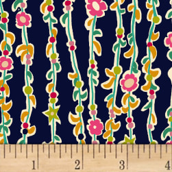 Butterfly Dance Vine Of Flowers Navy Fabric