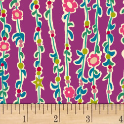 Butterfly Dance Vine Of Flowers Magenta Fabric