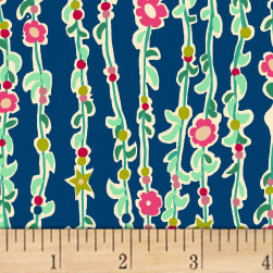 Butterfly Dance Vine Of Flowers Royal Fabric