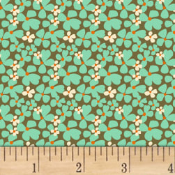 Butterfly Dance Daisy Dance Turquoise Fabric