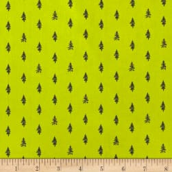 Night Hike Trees Spring Green Fabric