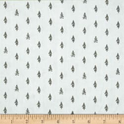 Night Hike Trees Light Grey Fabric