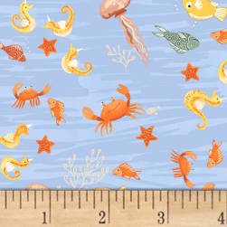 Mermaids Sea Life Light Blue Fabric