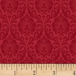 Love From Paris Damask Red Fabric