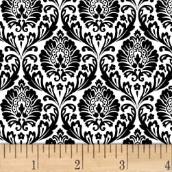 Love From Paris Damask Black Fabric