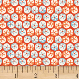 Painted Jungle Flower Dots Mandarin Red Fabric