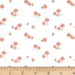 Michael Miller Minky Friendly Critters Mushroom Red Fabric