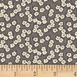 Sussex Floral Stripe Charcoal Fabric