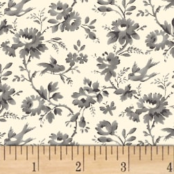 Sussex Floral Vine Grey Fabric