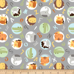 Cubby Bear Flannel Prints Alphabuddies Grey Fabric