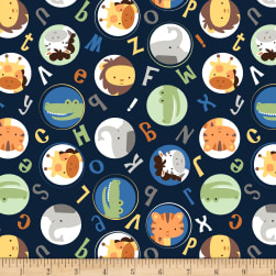 Cubby Bear Flannel Prints Alphabuddies Navy Fabric