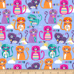 Cubby Bear Flannel Prints Purrfect Blue Fabric