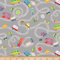 Cubby Bear Flannel Prints Road Trip Grey Fabric