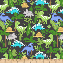Cubby Bear Flannel Prints Dino Friends Charcoal Fabric