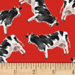 Silo Cows Red Fabric